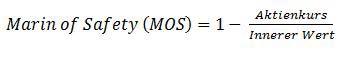 Hier die Margin of Safety Berechnung und Formel zum ablesen. Die Margin of Safety kann einfach berechnet und eingefordert werden