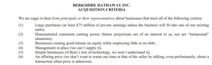 Warren Buffett Kriterien für Aktien